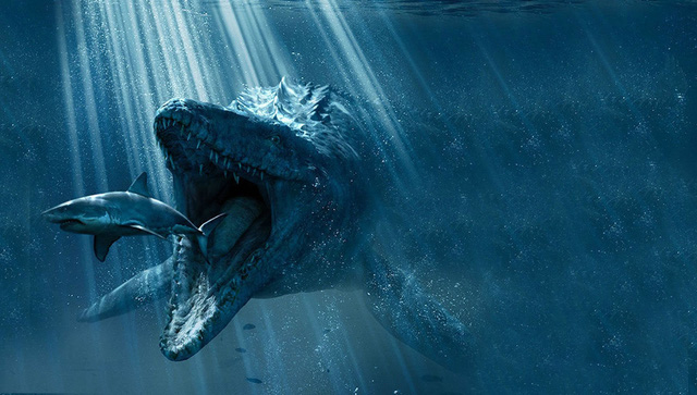 Bạn có tự tin chiến đấu với con mosasaurus này khi có súng 6 nòng trên tay không?