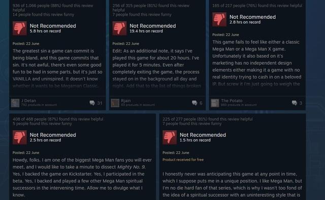 Những đánh giá cực kì tiêu cực dành cho Mighty No. 9 trên Steam.