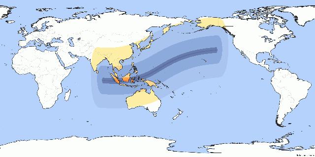Các khu vực quan sát được nhật thực trên thế giới vào ngày 9/3 sắp tới, vùng màu trắng là khu vực không thể quan sát được.