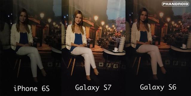 So sánh khả năng chụp tối giữa iPhone 6S, Galaxy S7 và Galaxy S6.
