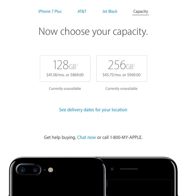 iPhone 7 Jet Black sẽ chỉ có mặt với hai phiên bản 128GB và 256GB