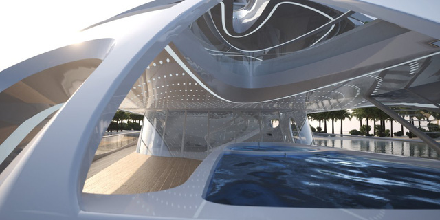 Bên trong du thuyền mẫu có cả bể bơi. Các cầu thang cong sẽ kết nối các tầng với nhau.