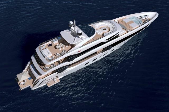 Fisker đã thiết kế một du thuyền với khu vực spa, khá nhiều quầy bar và một bồn sục xoay ra biển.