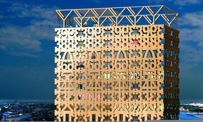 Hình ảnh thiết kế của tòa nhà bằng gỗ tại Stockholm.