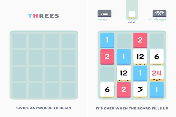 Threes - Game kết hợp tuyệt vời giữa giải đố và những con số 6