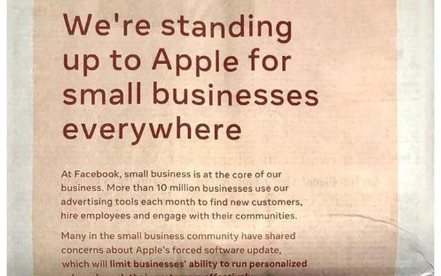 Facebook đăng quảng cáo toàn trang trên báo, để chỉ trích những thay đổi quyền riêng tư trên iOS 14 của Apple