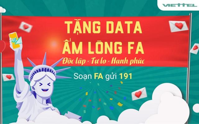 Mừng lễ Valentine, Viettel tặng 1402MB dung lượng 4G an ủi hội FA