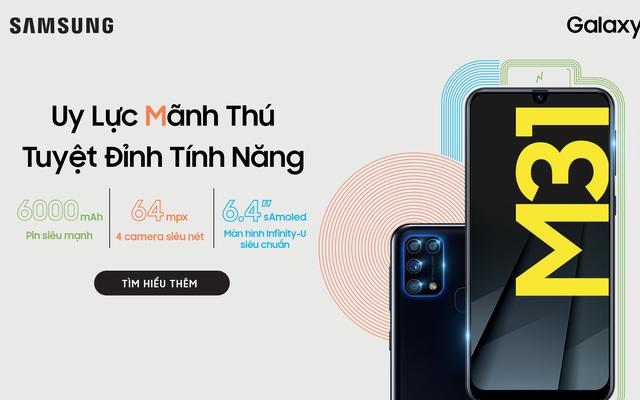 Galaxy M31 ra mắt tại Việt Nam: Camera 64MP, RAM 6GB, pin 6000 mAh, giá 6.49 triệu đồng