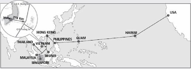 Sơ đồ tuyến cáp AAG và điểm xảy ra sự cố Nguồn: submarinecablemap.com - Đồ họa: VĨ CƯỜNG