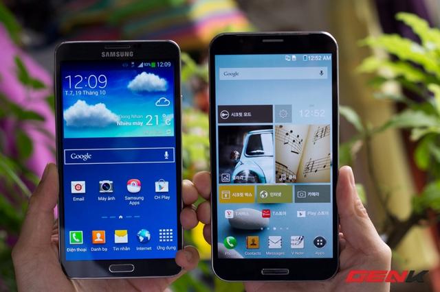 Note 3 với màn hình 5.7-inch dù đã rất lớn những vẫn nhỏ bé trước A890.