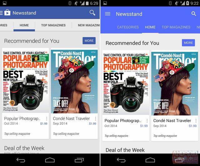 Rò rỉ giao diện Google Play Store 5.0 với ngôn ngữ thiết kế Material Design