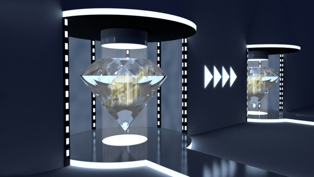 Simulated view of teleporting qubits between diamonds (Image: Hanson lab at TU Delft)