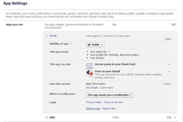 """Bạn vào Settings của facebook, chọn Apps. Tại đây, các ứng dụng mà bạn đã sử dụng sẽ liệt kê, và công việc còn lại là gỡ bỏ từng ứng dụng """"bẩn""""."""