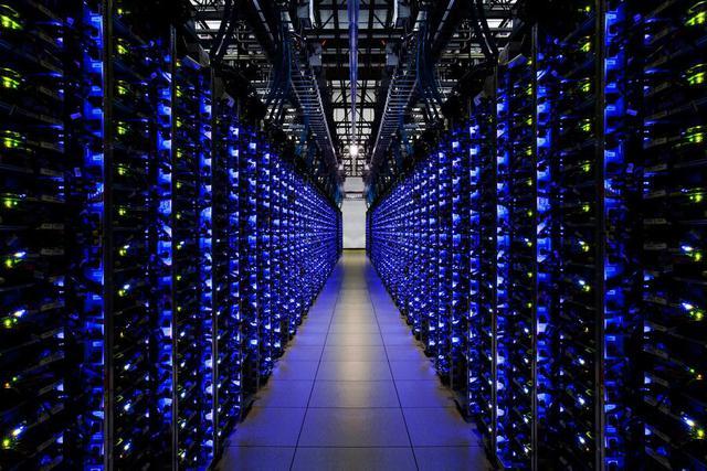 Blue-Lit Servers