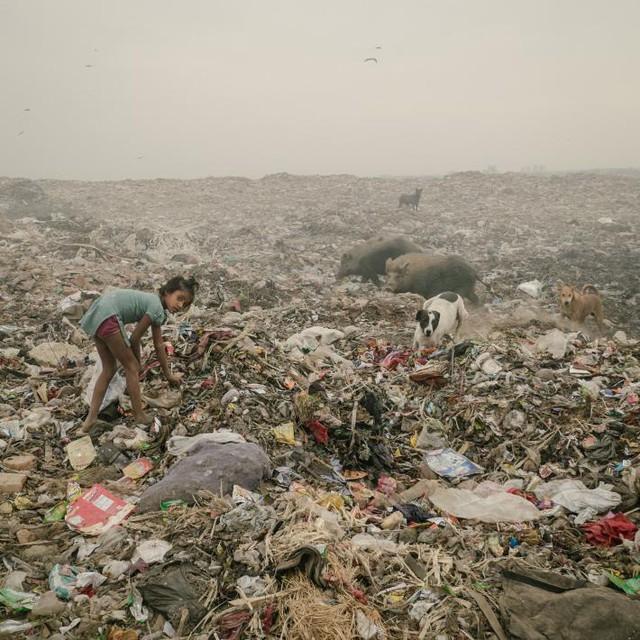 Bãi rác trải dài hàng dặm tại Bhalswa, Delhi, nơi một cô bé đang sục sạo tìm nhựa bán ve chai
