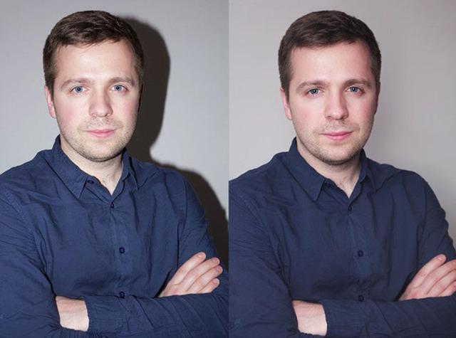 Sự khác biệt giữa ảnh chụp dùng flash cóc thông thường (trái) và ảnh chụp có tản sáng qua bóng bay (phải)