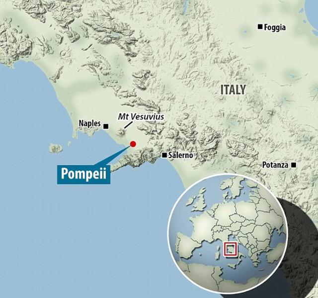 Vị trí của thành phố Pompeii và núi lửa Vesuvius