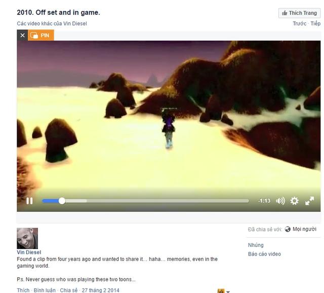 Vin Diesel từng chia sẻ một clip về World of WarCraft vào năm 2014