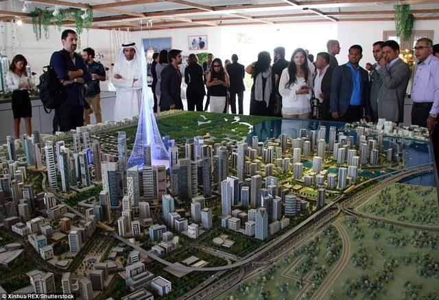 Mô hình The Tower trong buổi họp báo Emaar Properties tại Dubai vào 11 tháng 4 vừa qua khi dự án được công bố