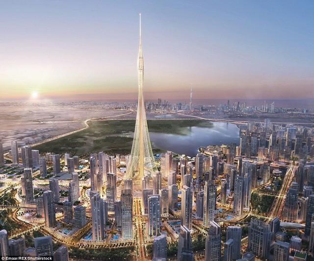 Ảnh render của The Tower với toà Burj Khalifa ở đằng sau