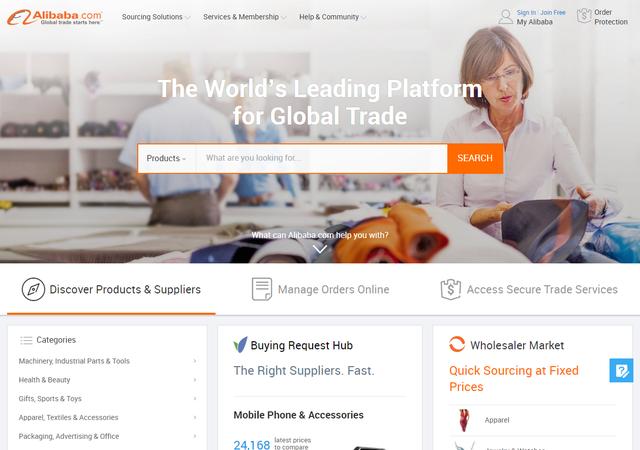 Trang bán buôn quốc tế của Alibaba