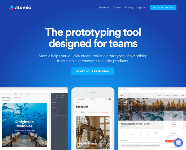 Atomic - một trong những công cụ prototype phố biến cho team thiết kế sản phẩm