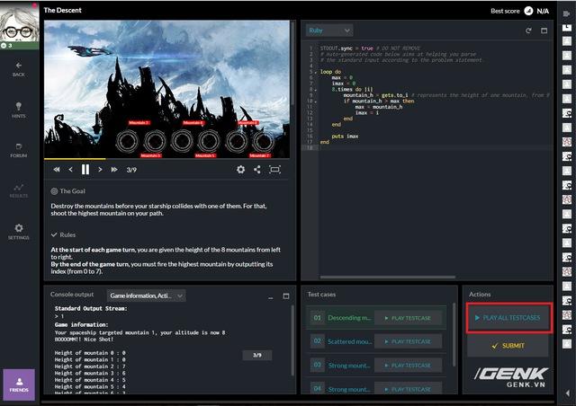 Sau khi code xong, bạn có thể check lại xem đã đạt được goal chưa bằng cách ấn cho chạy thử Play All Testcases hoặc check lại code ở mục Hint > Solution.