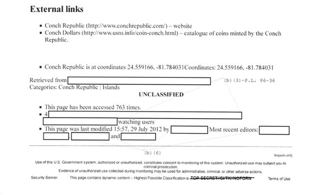 """Không giống như Wikipedia, phần trên và dưới cùng của mỗi bài viết đều có các đánh dấu phân loại, giống như nhãn """"không phải mật"""". Cũng có những phần được gắn nhãn (U), với cùng ý nghĩa. Bài viết về Conch Republic đã được truy cập 763 lần."""