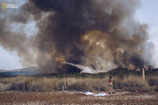 Một cô gái trẻ trong trang phục bikini đang nhìn máy bay chữa cháy rừng ở gần biển. Hình ảnh được ghi lại tại bãi biển Son Serra, trên đảo Mallorca vào ngày 18/8/2016.