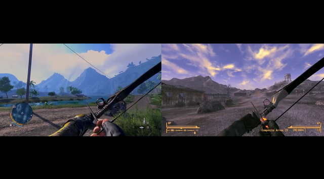 Nguyên mẫu cây cung trong Far Cry 3 (trái) và bản sao trong Fallout: New Vegas.