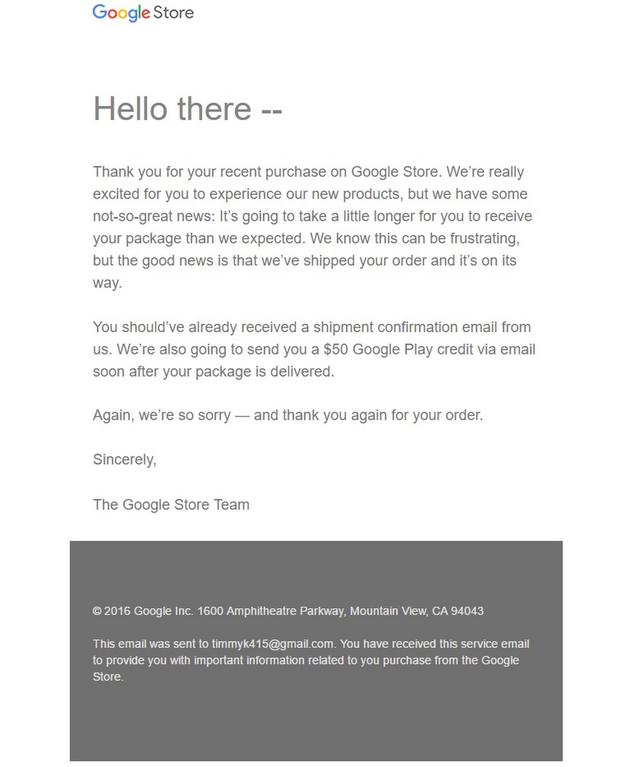 Email xin lỗi của Google gửi đến khách hàng.