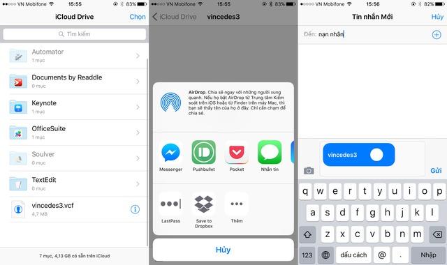Chia sẻ file này qua ứng dụng Tin nhắn và gửi đến nạn nhân