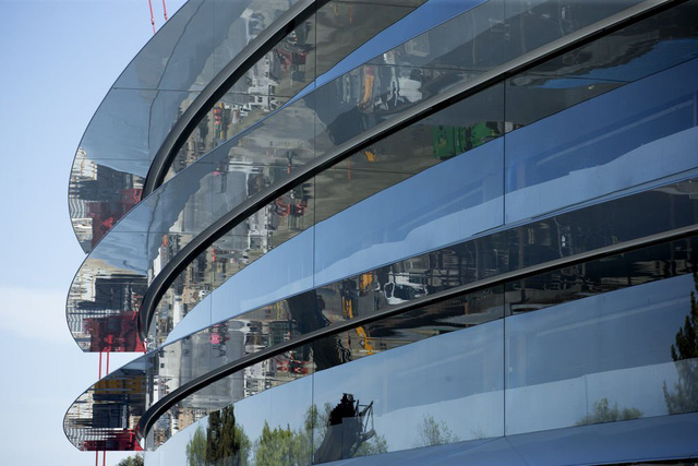 Đây là một góc đã hoàn thành của trụ sở tàu bay nhà Apple