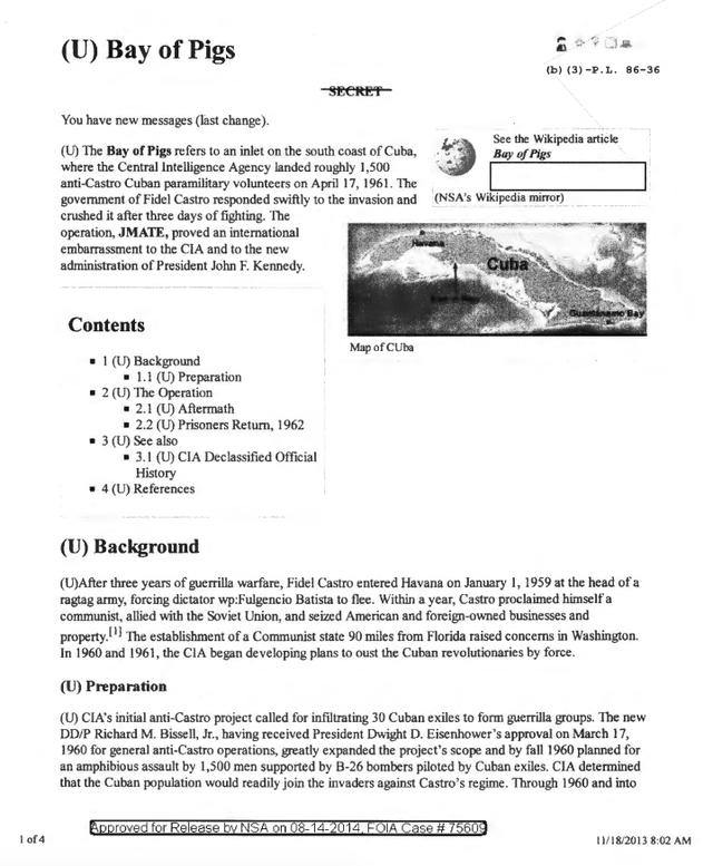 Trên đây là những gì Intellipedia nói về vụ việc Vịnh Con Lợn, cuộc xâm lược bất thành Cuba của lực lượng bán quân sự do CIA hậu thuẫn, nỗi xấu hổ của chính quyền Kenedy vào những năm 1960. Bài viết này trước đây được đóng dấu mật.