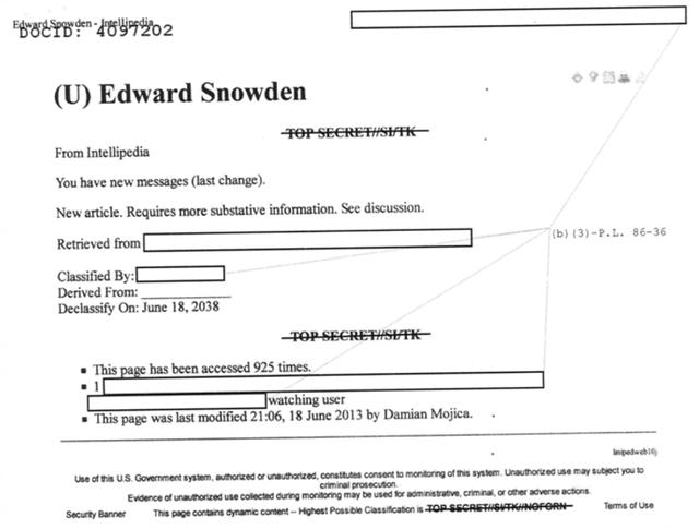 Nhưng điều thú vị nhất là bài viết về Edward Snowden trong phiên bản tuyệt mật của Intellipedia. Năm 2014, sau khi nhận được yêu cầu về chủ đề này, những gì người ta nhận được chỉ là một trang giấy trắng.
