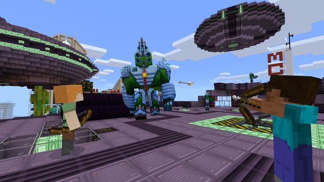 Addon Alien Invasion trên phiên bản Minecraft: Pocket Edition.