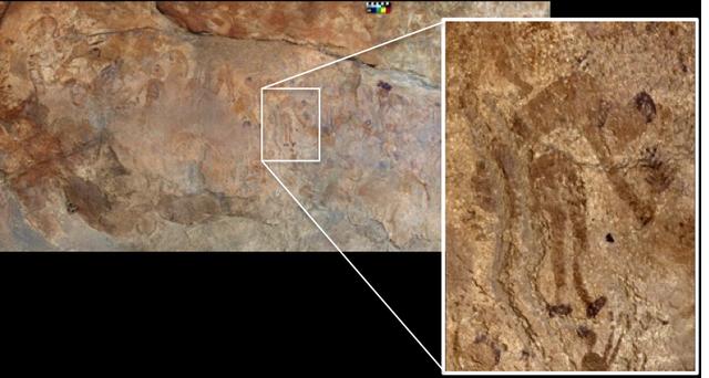 Ảnh vẽ trên hang đá ở châu Phi cảnh người cổ đi hái lượm các loại cây, lá