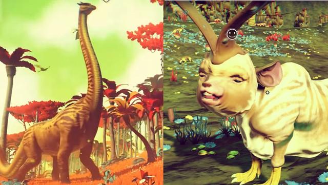 Một trong những điểm nhức nhối nhất ở No Mans Sky: Người chơi khó lòng gặp được những sinh vật ấn tượng như trailer (trái).