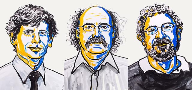Bộ ba nhà khoa học đoạt giải Nobel Vật lý năm 2016. Từ trái sang: David Thouless, Duncan Haldane và Michael Kosterlitz