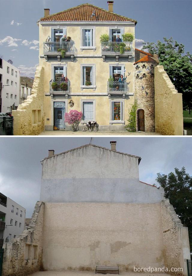 Phía sau một căn nhà cùng những bức tường của một căn nhà đổ khác chuyển mình thành một khung cảnh tràn đầy sức sống dưới bàn tay tài hoa của các họa sĩ