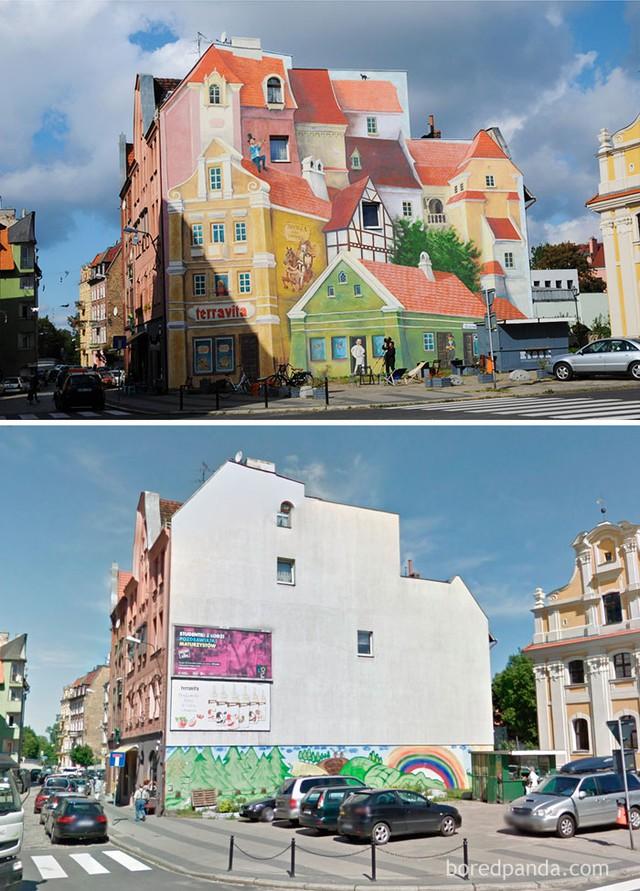 Thay cho mảng tường trắng nhàm chán là một bức tranh đầy màu sắc, cứ như những căn nhà tuyệt đẹp này mới được xây dựng thêm vậy.