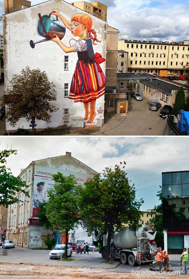 Cả khu phố bừng sáng khi tấm biển quảng cáo được bỏ đi, nhường chỗ cho một bức tranh nghệ thuật.