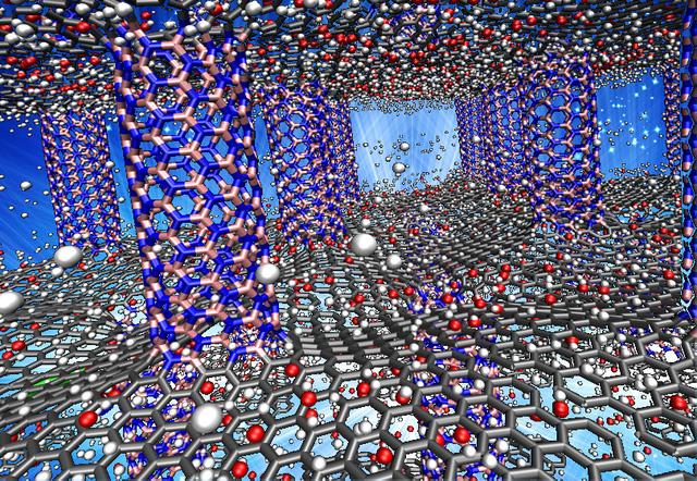 Hai lớp graphen được chống giữa bởi những cột là ống nano boron nitride được gia cố bằng oxy.