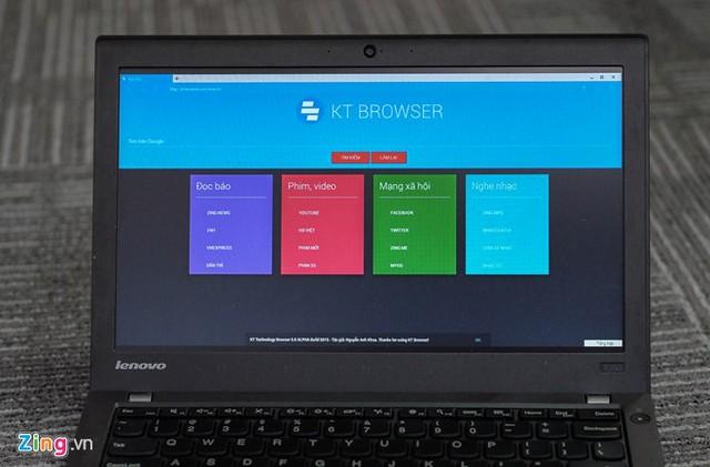 Phiên bản trên máy tính của KT Browser.