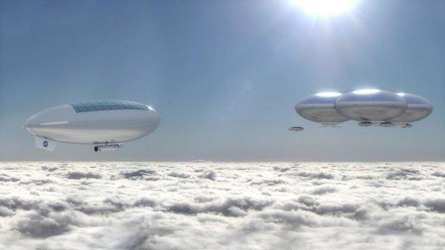Một họa sĩ hiện thực hóa hình ảnh thành phố trên mây tại sao Kim. Ở độ cao 80 dặm tính từ bề mặt, áp suất khí quyển và lực hấp dẫn khá tương đồng với Trái Đất. Và nhiệt độ ở đây là khá tuyệt, với mực nhiệt 75 độ C (hoàn toàn có thể có phương án thích ứng).