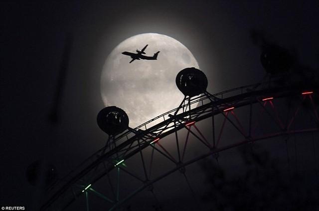 Một phi cơ bay trên nền trời trăng rằm ở thủ đô London của Anh. Ảnh: Reuters.