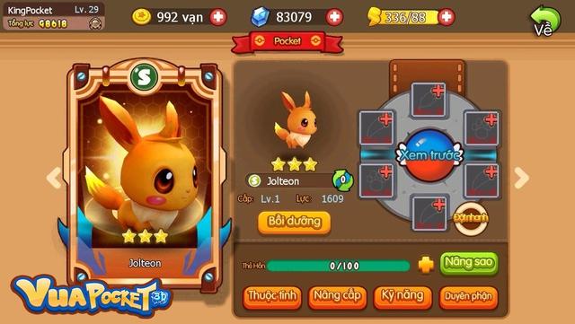 Trong Vua Pocket 3D, Eevee hiện đang tiến hóa được thành 3 dạng: lửa, nước, sét. Các dạng khác sẽ được lần lượt bổ sung trong các bản Update tiếp theo