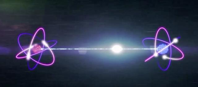 Hình mô tả sự rối của hai hạt lượng tử.