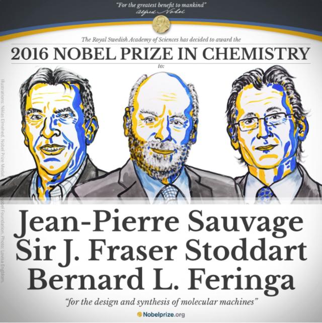 Nobel Hóa học năm 2016 được trao cho 3 nhà khoa học với khám phá giúp chế tạo một chiếc xe hơi cỡ nanomet