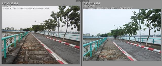 Sự khác biệt rõ ràng về màu sắc của ảnh từ Yi M1 (trái) và X-E1 (phải)